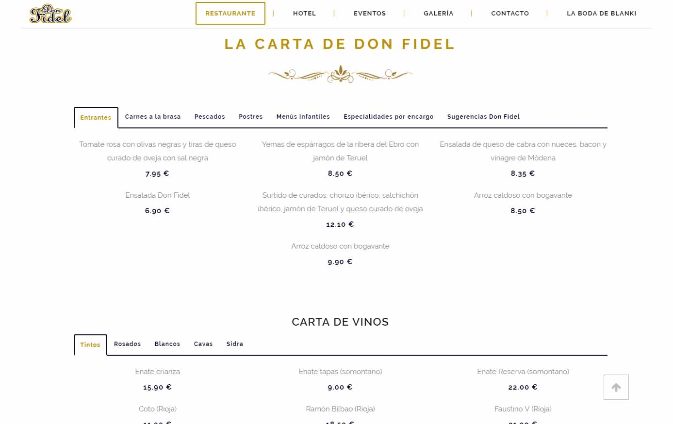Carta Restaurante Don Fidel