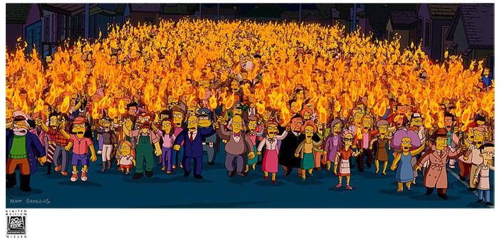 linchamiento en los Simpsons